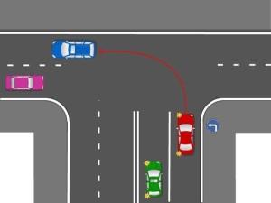 Можно ли красному авто, согласно ПДД, совершить данный маневр?